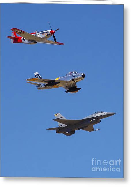 F-16 P-51d F-86 Heritage Flight- Flyby Greeting Card