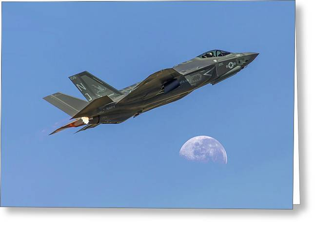 F-35 Shoots The Moon Greeting Card