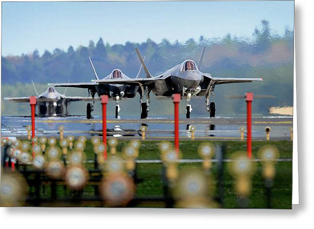 F 35a Lighting II Arrival At Raf Lakenheath Greeting Card by Paul Fearn