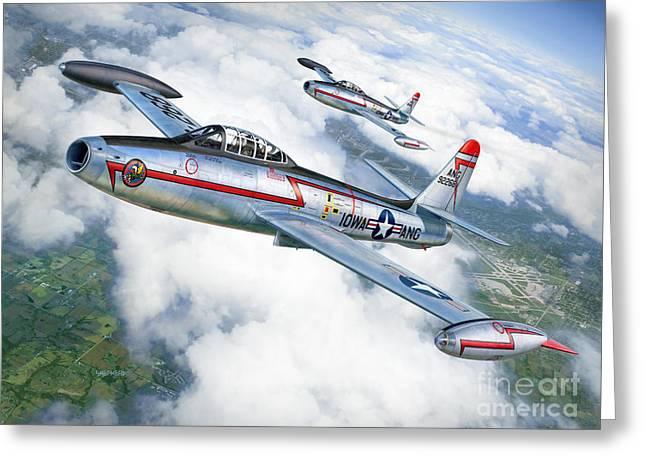 F-84 Thunderjet Iowa Ang Greeting Card