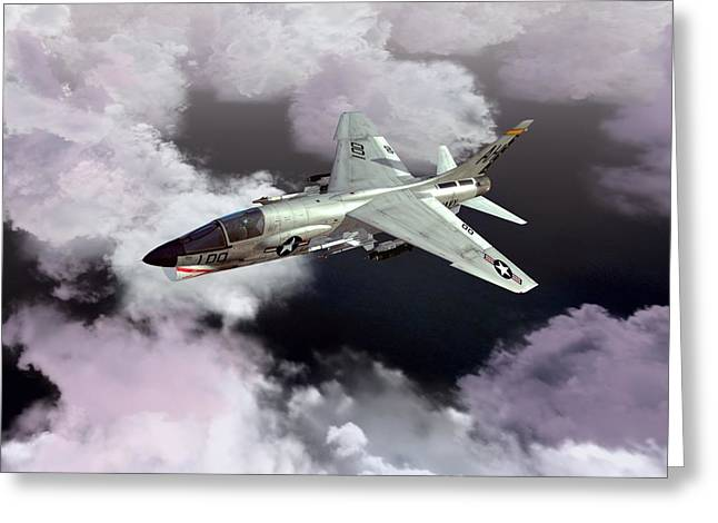 F-8e At Kilo Marshall Greeting Card