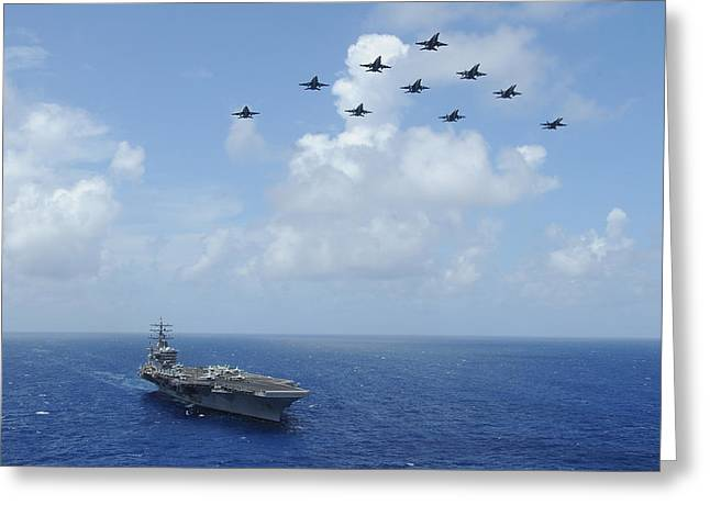 F-a-18c Hornets Fly Over The Aircraft Carrier Uss Dwight D. Eisenhower Greeting Card