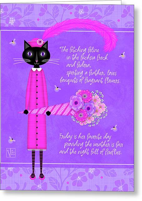 F Is For Fetching Feline And Flowers Greeting Card
