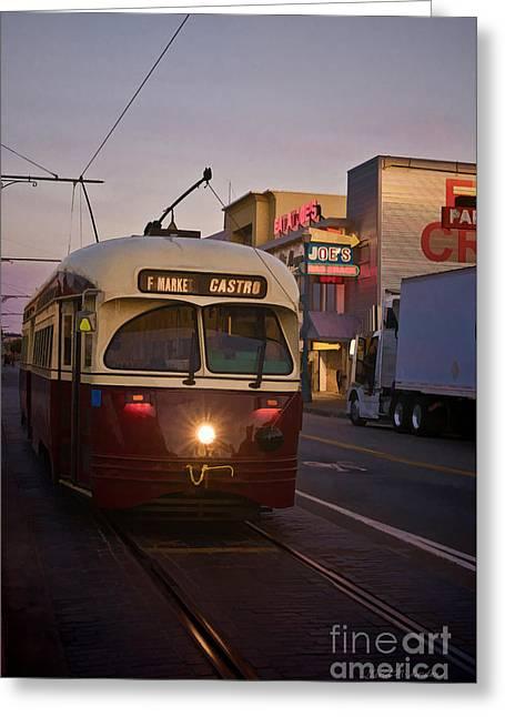 F-line Trolley San Francisco  Greeting Card by David Gordon