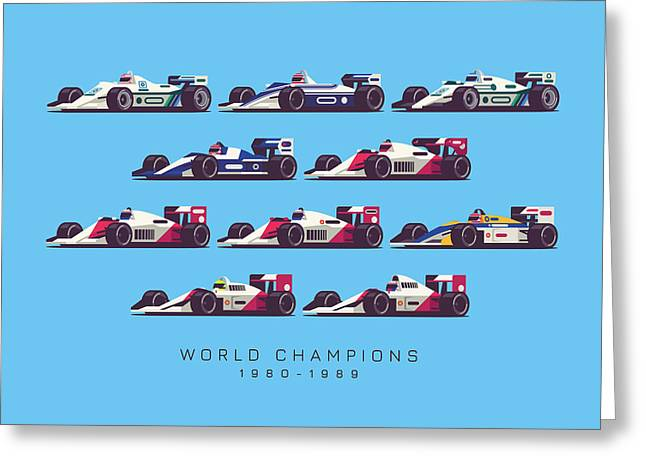 F1 World Champions 1980s - Blue Greeting Card