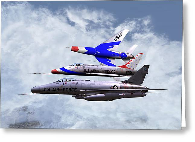 Greeting Card featuring the digital art F100 0-41787 Njang 001 by Mike Ray