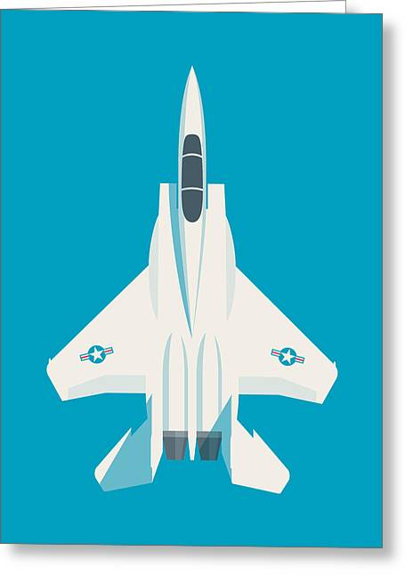 F15 Eagle Fighter Jet Aircraft - Blue Greeting Card