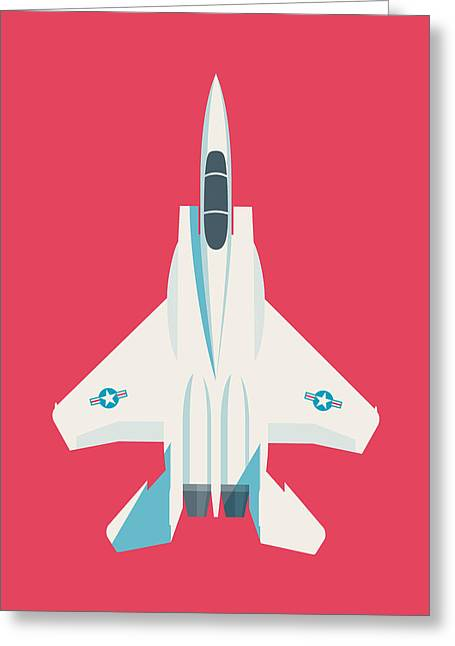 F15 Eagle Fighter Jet Aircraft - Crimson Greeting Card