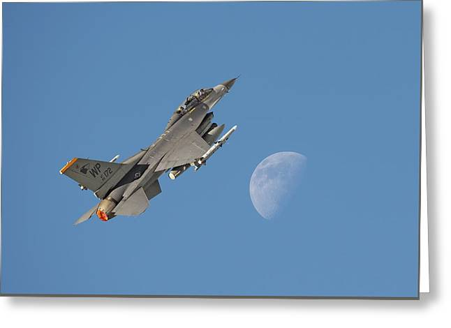 Greeting Card featuring the photograph F16 - Aiming High by Pat Speirs