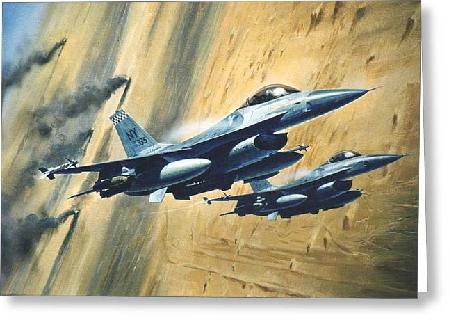 'f16 Desert Storm' Greeting Card