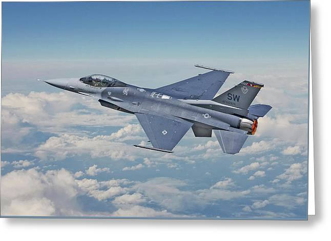 Greeting Card featuring the digital art F16 - Fighting Falcon by Pat Speirs