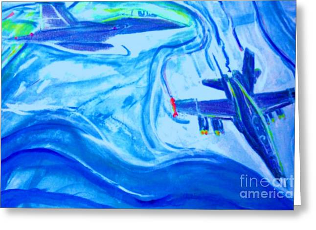F18 Fighter Aircrafts In Flight Greeting Card by Stanley Morganstein