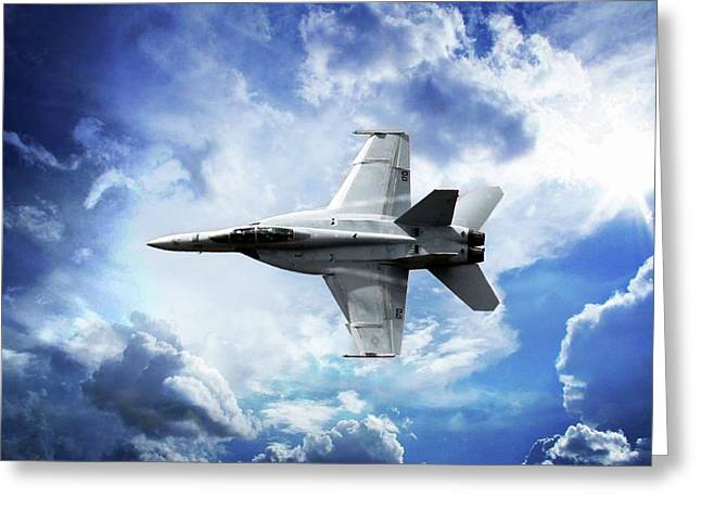 Greeting Card featuring the photograph F18 Fighter Jet by Aaron Berg