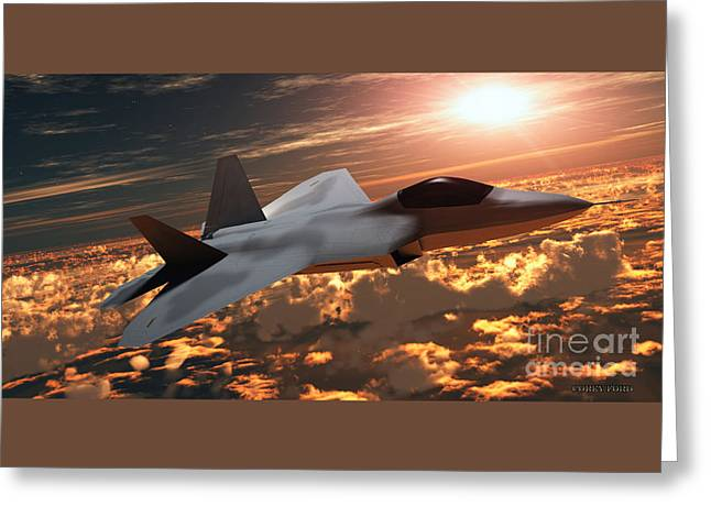 F22 Fighter Jet At Sunset Greeting Card by Corey Ford