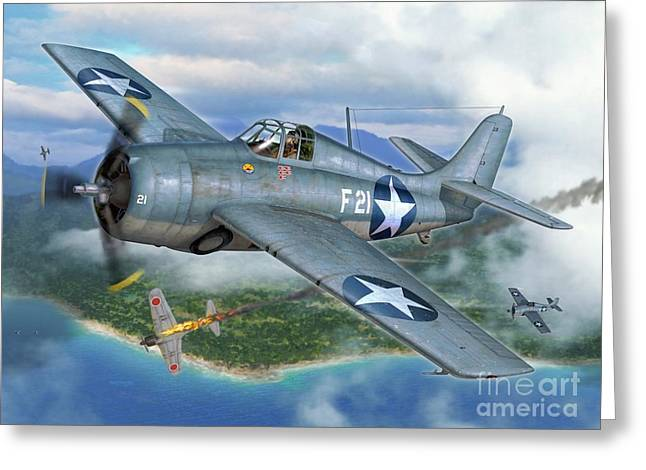 F4f Wildcat On The Prowl Greeting Card