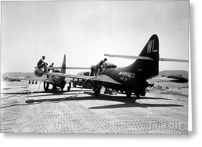 F9f Panther Jets Being Refueled Greeting Card by Stocktrek Images