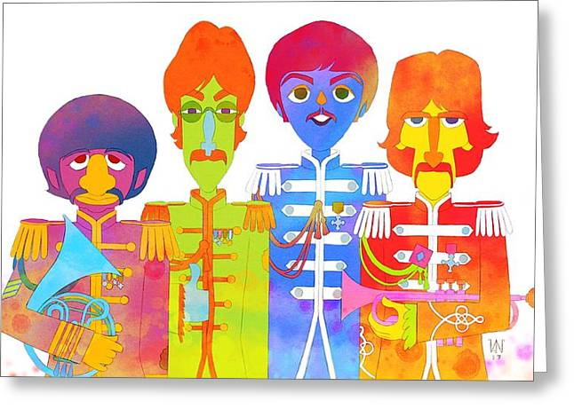 Fab 4 Greeting Card by Victor Navone