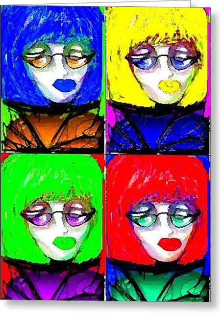 Greeting Card featuring the greeting card Fab Faces by Rae Chichilnitsky