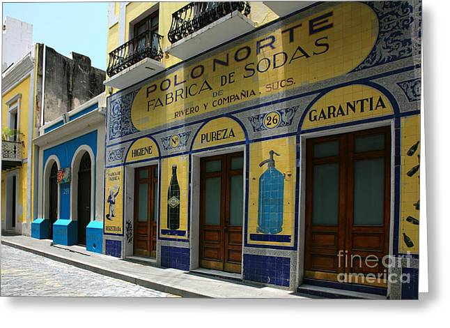 Old San Juan Greeting Cards - Fabrica de Sodas Greeting Card by Timothy Johnson