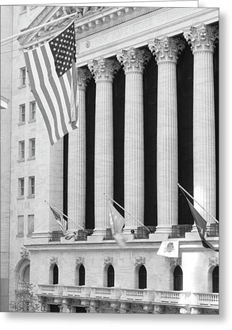 Facade Of New York Stock Exchange, Manhattan, New York City, New York State, Usa Greeting Card by Panoramic Images