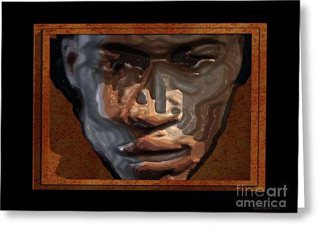 Face In A Box Greeting Card by Walter Oliver Neal