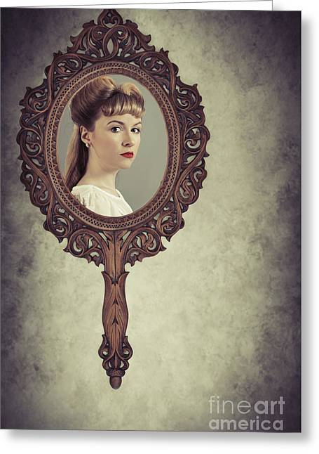 Face In Antique Mirror Greeting Card by Amanda Elwell