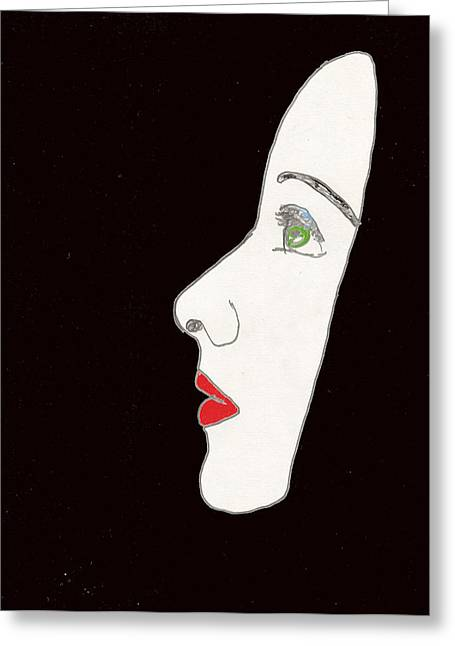 Face In Profile Greeting Card