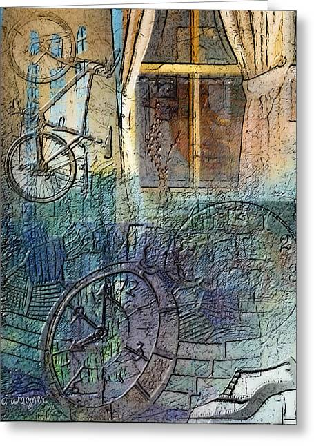 Face In The Window Embossed Montage Greeting Card by Arline Wagner