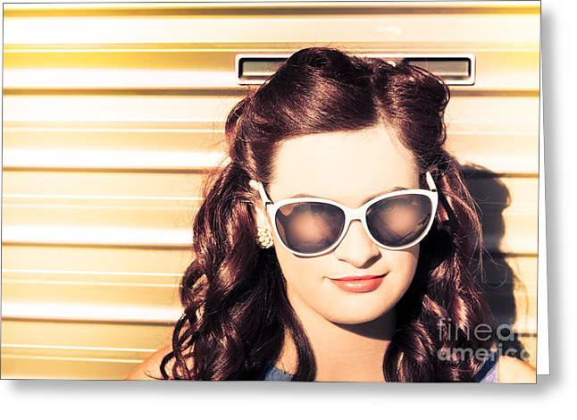 Face Of A Retro Beauty Model In Cool Accessories Greeting Card by Jorgo Photography - Wall Art Gallery