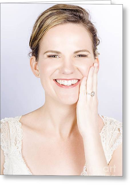 Face Of A Smiling Bride With Perfect Makeup Greeting Card