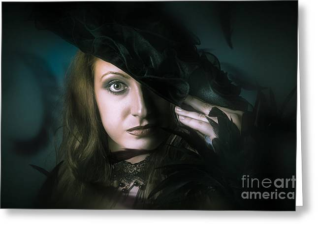 Face Of Beautiful Mystical Woman In Black Fashion Greeting Card by Jorgo Photography - Wall Art Gallery