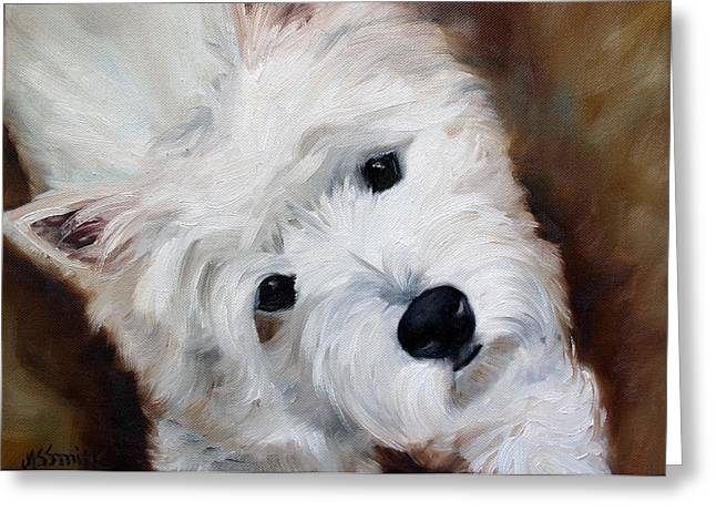 Westie Art Greeting Cards - Face of Endearment Greeting Card by Mary Sparrow