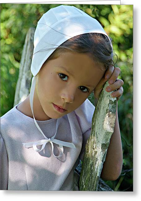 Amish Girl Greeting Cards - Face of Innocence Greeting Card by Darlene Smithers