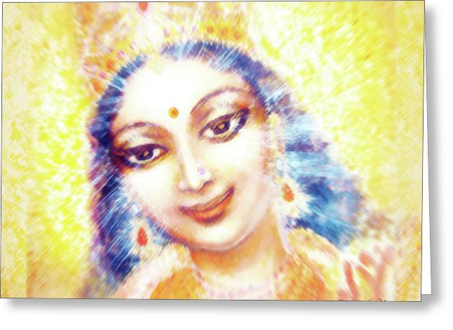 Face Of The Goddess - Lalitha Devi - Light Greeting Card by Ananda Vdovic