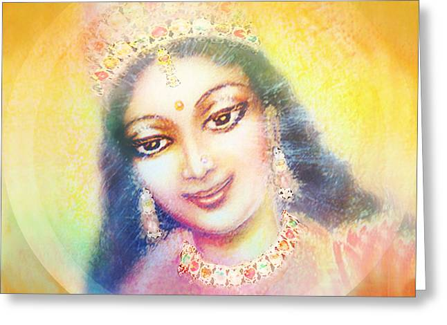 Face Of The Goddess - Lalitha Devi - Rainbow Colors Greeting Card by Ananda Vdovic