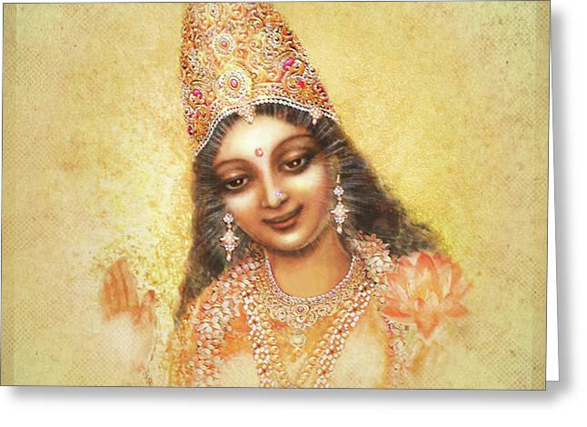Face Of The Goddess - Lalitha Devi - Without Frame Greeting Card by Ananda Vdovic