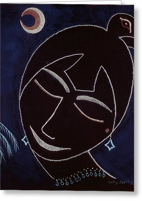Face On Black Greeting Card by Sally Appleby