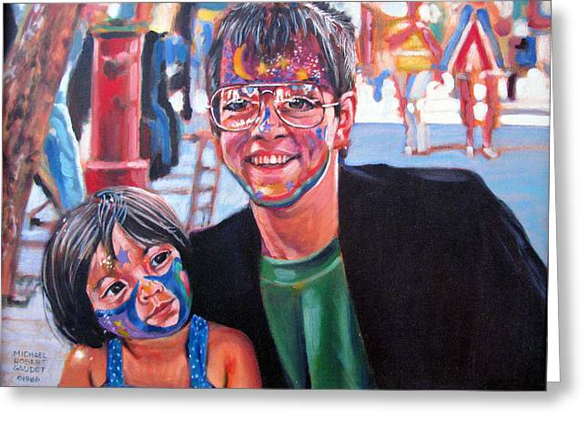Face-painter Greeting Card by Michael Gaudet