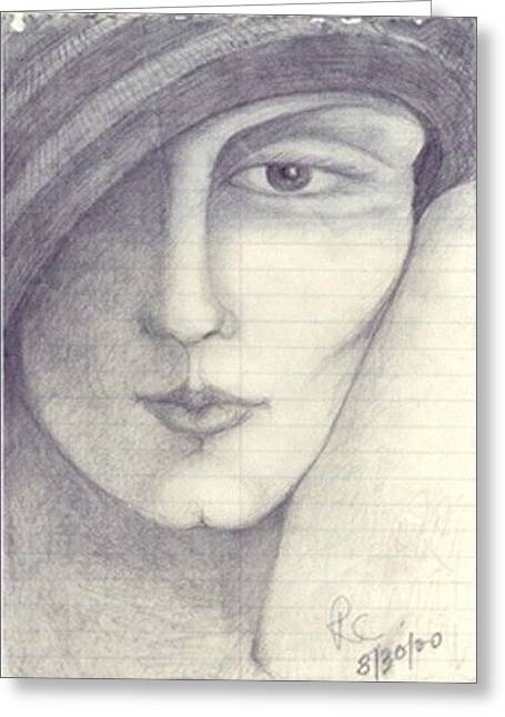 Face Greeting Card by Rae Chichilnitsky