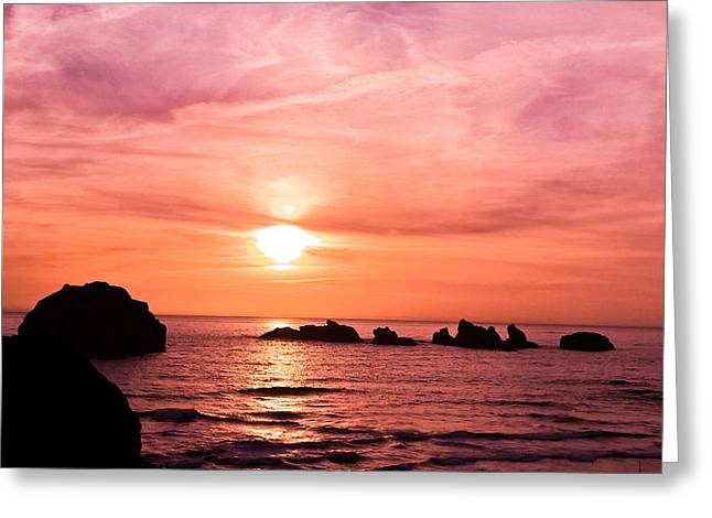 Face Rock Sunset Greeting Card