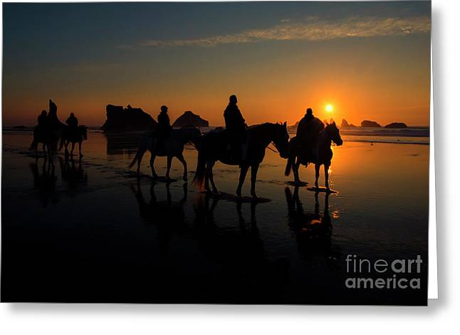 Face Rock Sunset Ride Greeting Card by Mike Dawson