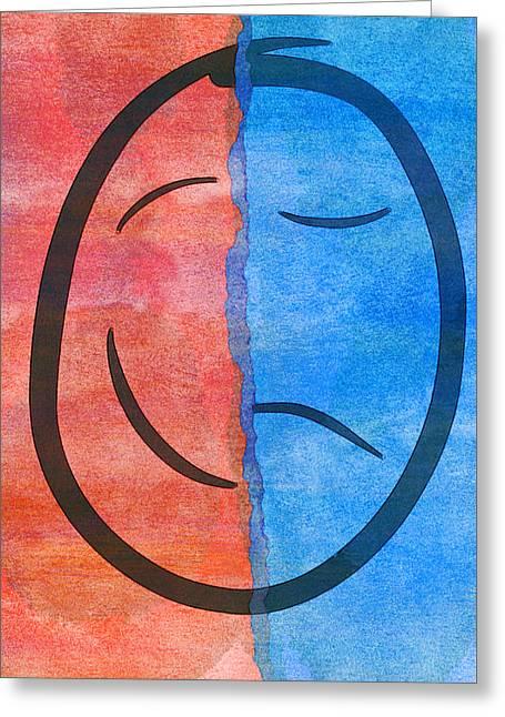 Face Sad Bipolar  Greeting Card by PixBreak Art