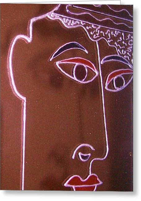 Faces And Alphabets Greeting Card by Sylvia Hanna Dahdal