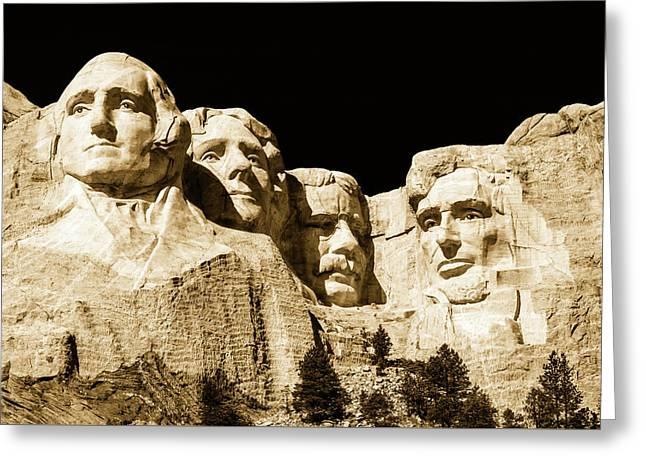 Faces Of Mount Rushmore Greeting Card by Unsplash - Brandon Mowinkel