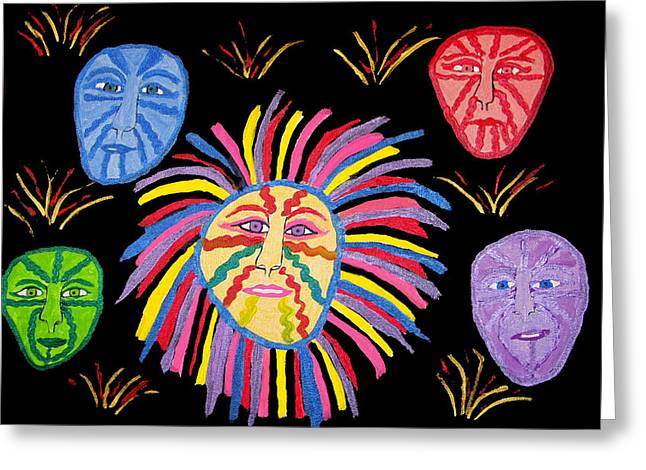 Faces Out Of The Dark  Greeting Card by Betty  Roberts
