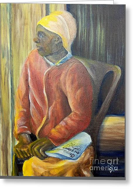 Greeting Card featuring the painting Facing Freedom by Saundra Johnson