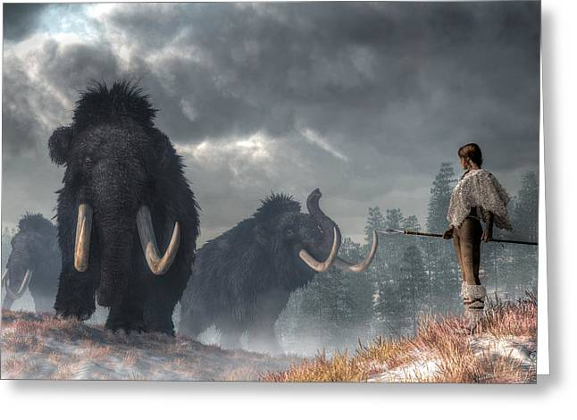 Facing The Mammoths Greeting Card by Daniel Eskridge