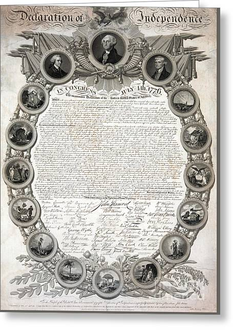 Facsimile Of The Original Draft Of The Declaration Of Independence 1776 Greeting Card