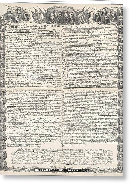 Facsimile Of The Original Draft Of The Declaration Of Independence Greeting Card