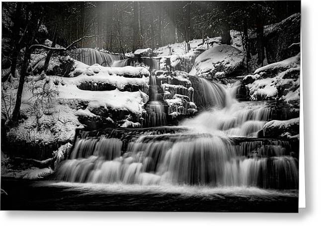 Factory Falls In Winter Greeting Card by Chris Lord